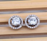Stud Earrings for Women White Gold Plated CZ Diamond Jewelry