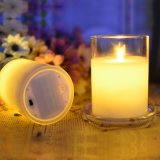 Battery Operated or Rechargeable Flamless Moving Wick Glass Jar LED Candle