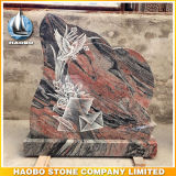 Euro Desin Red Granite Headstone with Line Carving