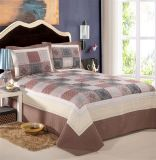 Washable Quilts Plaid 100% Cotton Brown Bedding Set