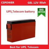 Cspower 12V80ah Front Terminal Gel Battery for Telecom UPS, China Supplier