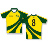 Green and Yellow Design Rugby Shirts Rugby Jerseys with Logo and Number