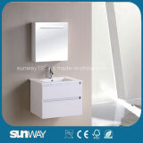 White Corner Wall Hung Bathroom Cabinet with Mirror Cabinet (SW-MF1204)