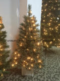 4FT Potted Christmas Tree with LED Light and Silver Glitter Tips (Home Decoration)