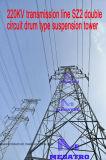 Megatro 220kv Transmission Line Sz2 Double Circuit Drum Type Suspension Tower