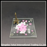 4mm Decorative Glass Coaster with Screen Printing Pattern