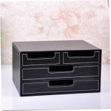 Luxury Black Leather Office Storage Drawer Box