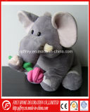 Christmas Plush Elephant Toy with Flower in Hand