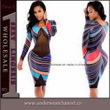 Fashion Colorful Exotica Sexy Long Sleeve MIDI Evening Dress (6783)