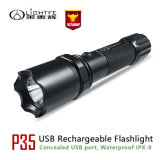 Ce, FCC, RoHS Approval Aerospace Aluminum USB Rechargeable Waterproof Searching LED Flashlight