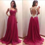 Best Selling Chiffon Zipper Back Floor Length Chiffon Evening Dress (LH0046)