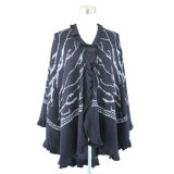 Ladies Fashion Acrylic Knitted Winter Shawl with Ruffle Edge (YKY4140)