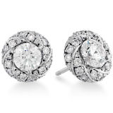Big Round Clear CZ Stud Earrings 925 Silver Jewelry