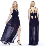 Women′s Deep V-Neck Perspective Chiffon Strapless Maxi Dress