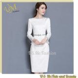 Professional Long Sleeve Office Lady Ruffle Waist Slim White Work Dress