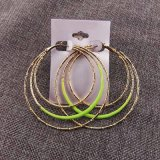 Candy Color Enamel Gold Plated Big Round Fashion Hoop Earrings