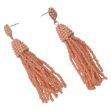 Gold Alloy Beads Chain Tassel Drop Earrings Dangle Pendant for Charm Women Fashion Jewelry