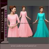 Wholesale Short Sleeve Lace Chiffon Patchwork Maxi Dress (TMKF487)