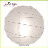 White Irregular Ribbed Round Paper Lanterns