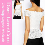 White off-Shoulder Lace Peplum Top