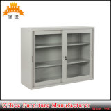 Glass Sliding Door Filing Cabinet with Shelf