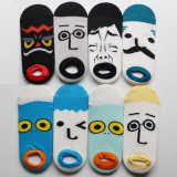 Men′s Cotton Ankle Happy Socks with Cartoon Face (MA205)