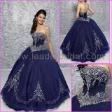 Strapless Navy Blue Embroidery Quinceanera Dress, Bridal Ball Gown Q172