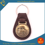 China Customized Hot Sale Metal Badge Leather Key Ring in Ancient Style