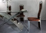 Modern Designed Hot Sale Dining Table with Stainless Steel and Glass