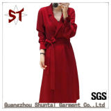 OEM High Quality Lady Suit Collar Long Coat