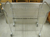 All-Purpose 2 Tiers Adjustable Heavy Duty NSF Chrome Steel Storage Wire Utility Cart Trolley