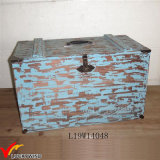 Distressed Blue Decorative Storage Wood Trunk Box
