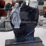 Bahama Blue Granite Tombstone with Virgin Mary Sculpture