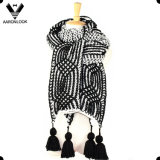 Heavy Winter Hand Knit Crochet Thick Scarf Hang Fringe