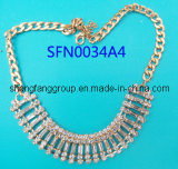 Fashion Jewelry Claw Chain with Square Crystal Necklace, Fashion Jewelry (SFN0034A)