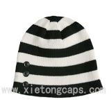 Striped Knitted Hat with Buttons (JRK066)
