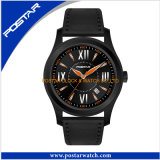 Waterproof Black Quartz Watch with Orange Hands