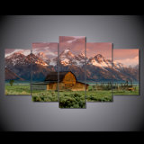 Canvas Art Printed Barn Rocky Mountains Painting Canvas Print Room Decor Print Poster Picture Canvas Mc-059