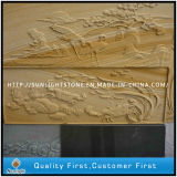 Yellow Sandstone Art Relief Sculpture for Outdoor Wall Decoration