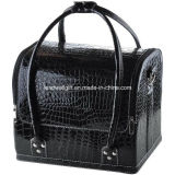 Crocodile Makeup Cosmetic Train Bag Handbag Case W/ Removable Tray Jewelry Ring