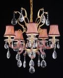 Luxury Crystal Drop with Fabric Lamp Shade Chandelier (120688-8L)