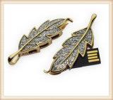 Leaf Shape Golden Metal USB Flash Drive Crystal Pen Drive (ED007)