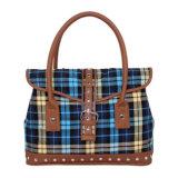 Casual Ripstop Fabric Handbags Lady PU Bag