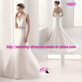 Princess A-Line White Satin Wedding Dress with Court Train