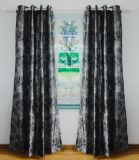 Flocked Faux Silk Grommet Panel Curtain