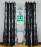 Flocked Faux Silk Grommet Panel Curtain
