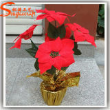 Chinese Wholesale Fake Artificial Poinsettia Bonsai Flowers Arrangements