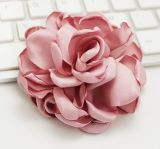 Colourful Big Flower Brooch with Fabric Fashion Jewelry