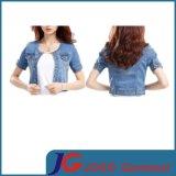 Round Collar Women Jean Short Coat for Skirt (JC4052)