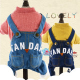 Fashion Dog Suspender Jeans Trousers with Pet Clothes Shirt